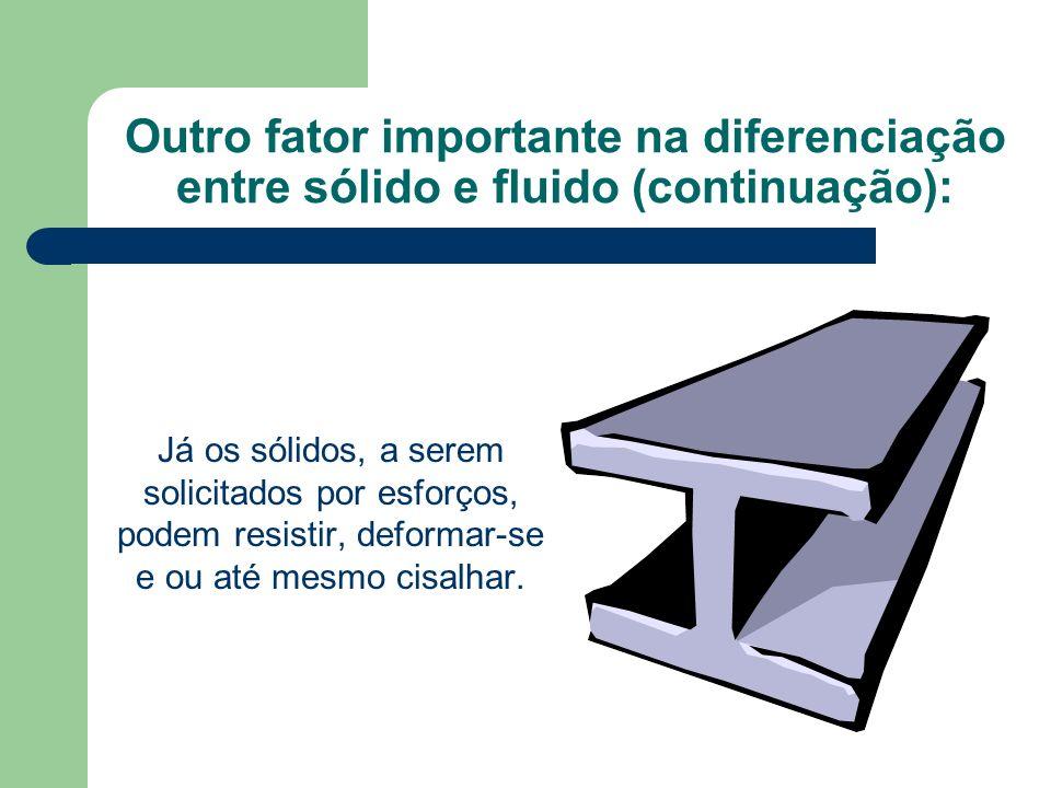 Outro fator importante na diferenciação entre sólido e fluido (continuação): Já os sólidos, a serem solicitados por esforços, podem resistir, deformar