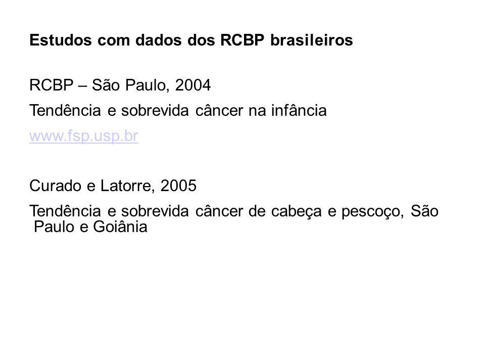 Estudos com dados dos RCBP brasileiros RCBP – São Paulo, 2004 Tendência e sobrevida câncer na infância www.fsp.usp.br Curado e Latorre, 2005 Tendência