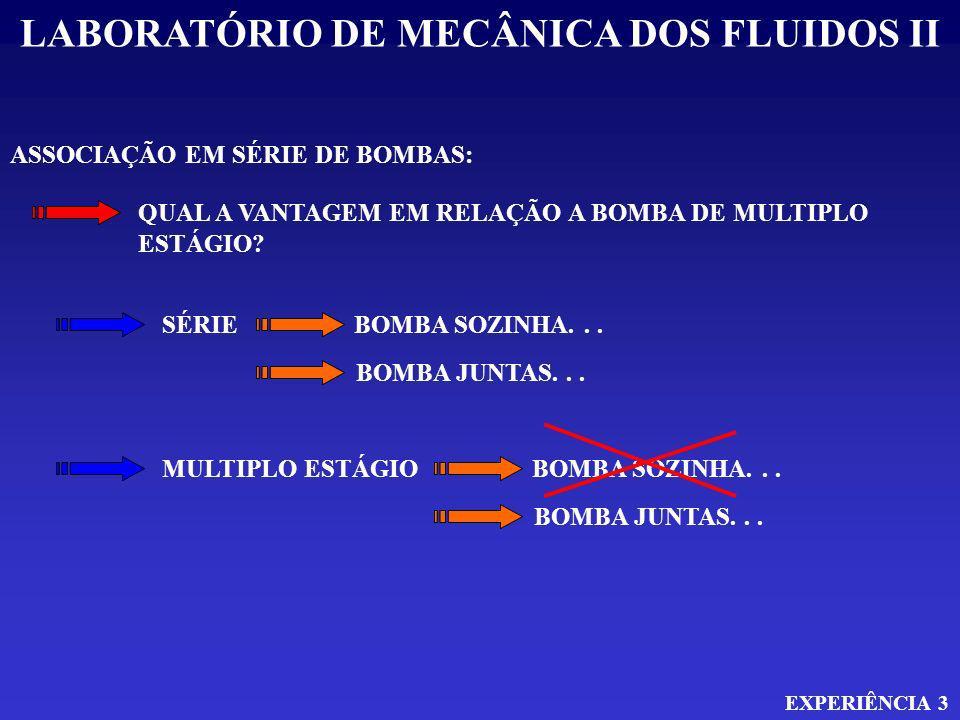 LABORATÓRIO DE MECÂNICA DOS FLUIDOS II EXPERIÊNCIA 3 ASSOCIAÇÃO EM SÉRIE DE BOMBAS: QUAL A VANTAGEM EM RELAÇÃO A BOMBA DE MULTIPLO ESTÁGIO? SÉRIE MULT