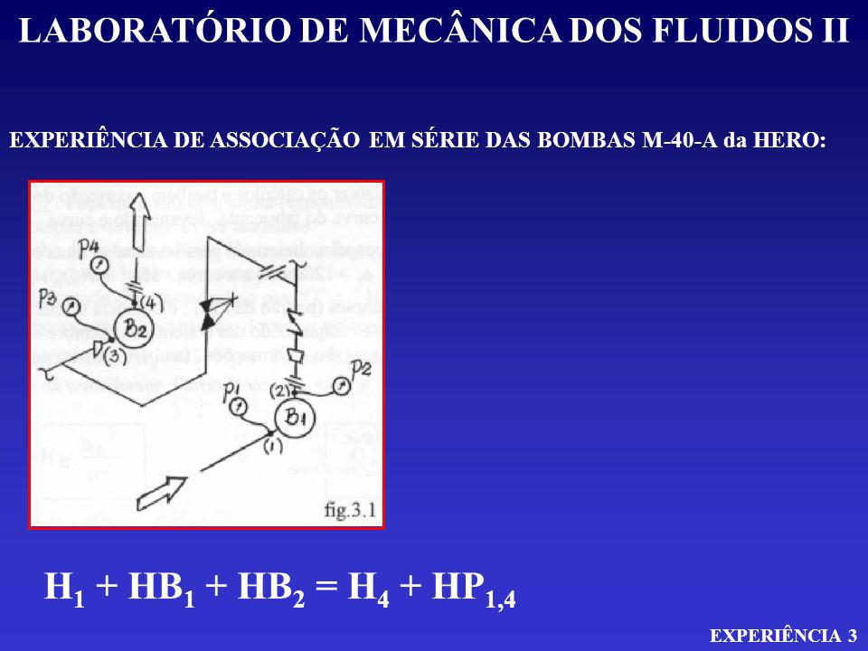 LABORATÓRIO DE MECÂNICA DOS FLUIDOS II EXPERIÊNCIA 3 EXPERIÊNCIA DE ASSOCIAÇÃO EM SÉRIE DAS BOMBAS M-40-A da HERO: H 1 + HB 1 + HB 2 = H 4 + HP 1,4 V1² + P1 + HB A = V4² + P4 + HP 1,4 2g 2g H 2 = H 3 + HP 2,3 V2² + P2 = V3² + P3 + HP 2,3 2g 2g V 4 = V 2 e V 1 = V 3 HB A = P4 + P2 - P1 - P3 + V4² - V1² g HP 1-2 e HP 3-4 = 0 ( I ) ( II )
