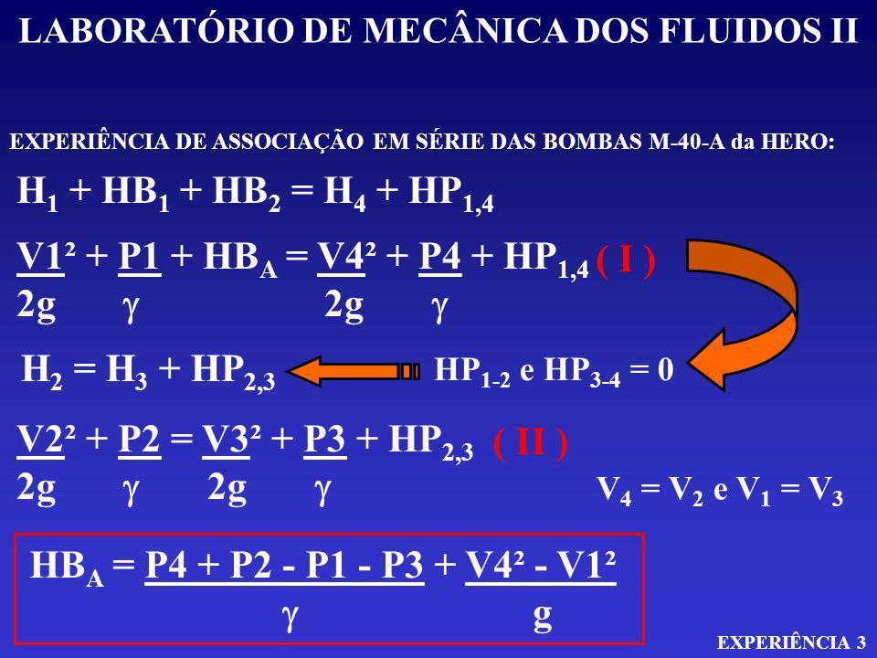 LABORATÓRIO DE MECÂNICA DOS FLUIDOS II EXPERIÊNCIA 3 EXPERIÊNCIA DE ASSOCIAÇÃO EM SÉRIE DAS BOMBAS M-40-A da HERO: H 1 + HB 1 + HB 2 = H 4 + HP 1,4 V1