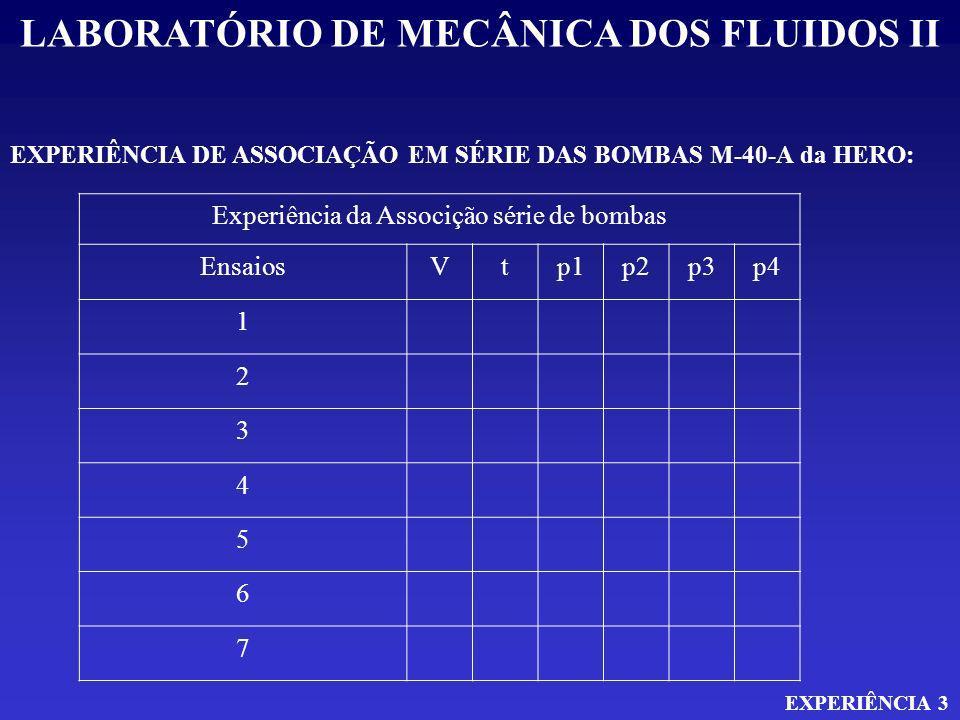 LABORATÓRIO DE MECÂNICA DOS FLUIDOS II EXPERIÊNCIA 3 EXPERIÊNCIA DE ASSOCIAÇÃO EM SÉRIE DAS BOMBAS M-40-A da HERO: Experiência da Associção série de b