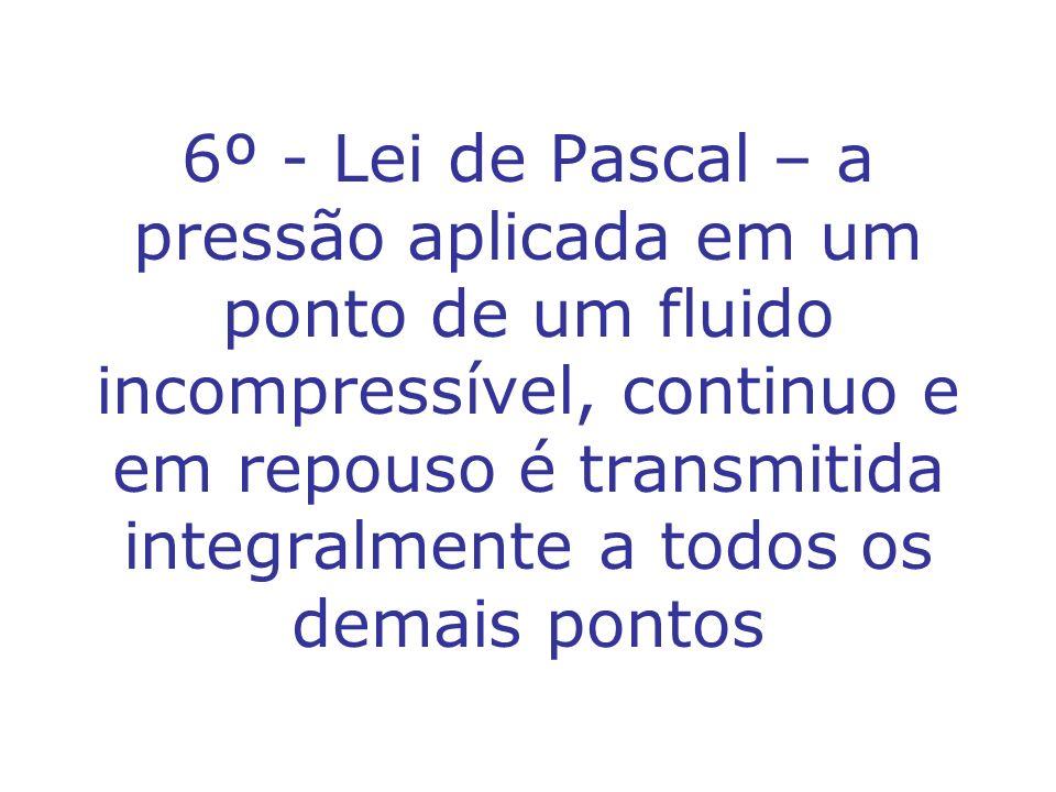 6º - Lei de Pascal – a pressão aplicada em um ponto de um fluido incompressível, continuo e em repouso é transmitida integralmente a todos os demais p