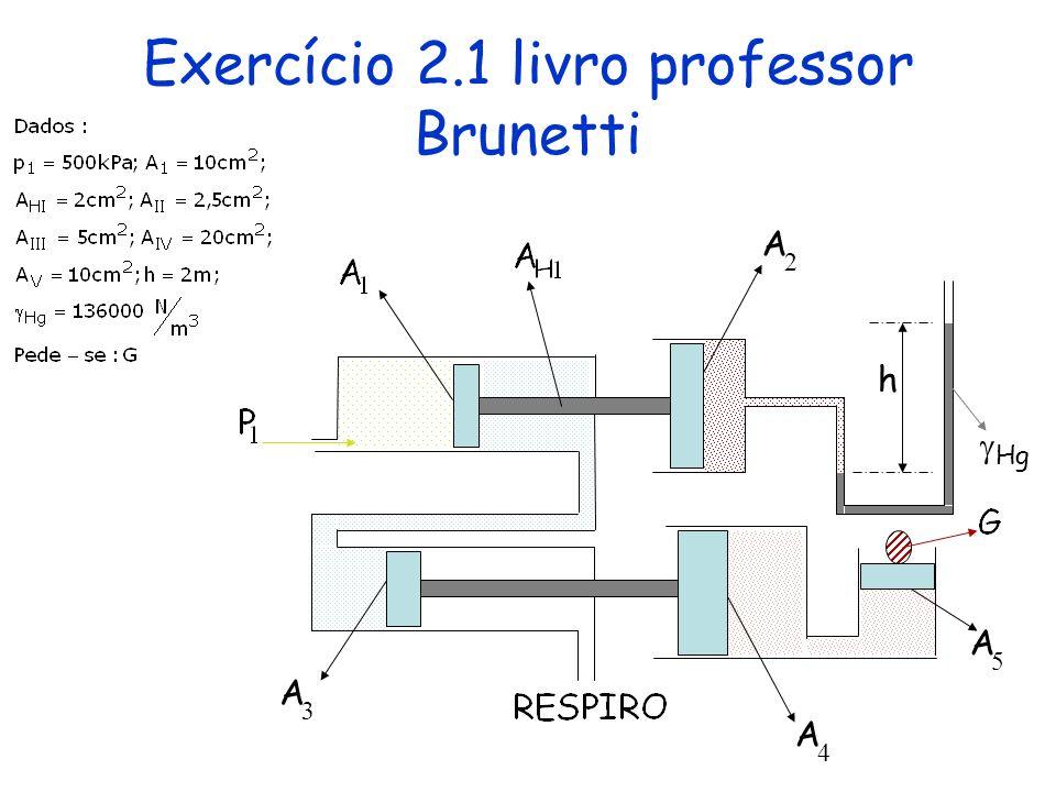 Exercício 2.1 livro professor Brunetti 5 4 h A A 3 A Hg 2 A