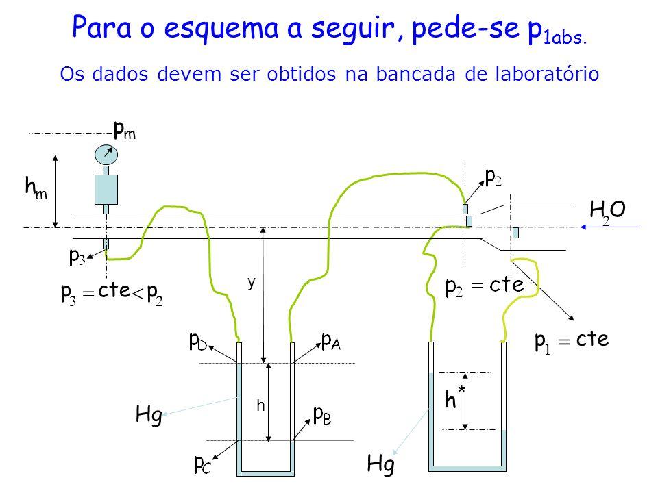 Para o esquema a seguir, pede-se p 1abs. Os dados devem ser obtidos na bancada de laboratório m h h 23 pctep y Hg * h m p OH 2 ctep 1
