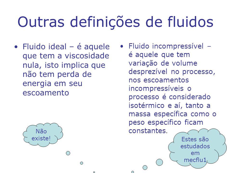 Outras definições de fluidos Fluido ideal – é aquele que tem a viscosidade nula, isto implica que não tem perda de energia em seu escoamento Fluido in