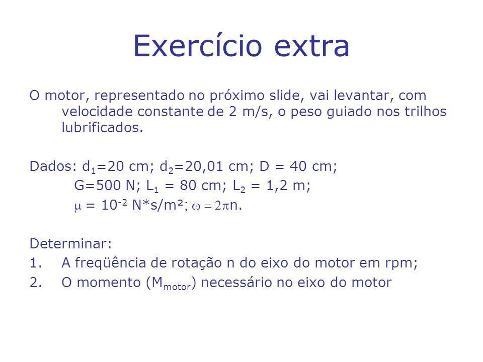 Exercício extra O motor, representado no próximo slide, vai levantar, com velocidade constante de 2 m/s, o peso guiado nos trilhos lubrificados. Dados