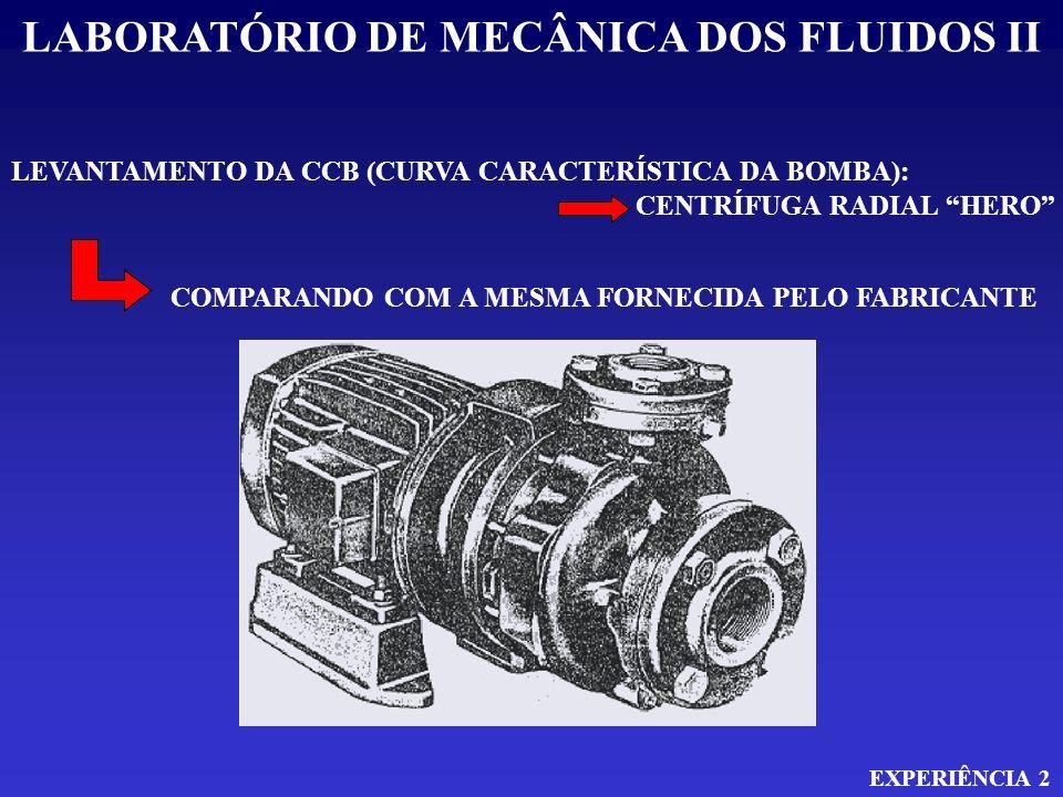 LABORATÓRIO DE MECÂNICA DOS FLUIDOS II EXPERIÊNCIA 2 LEVANTAMENTO DA CCB (CURVA CARACTERÍSTICA DA BOMBA): CENTRÍFUGA RADIAL HERO COMPARANDO COM A MESM