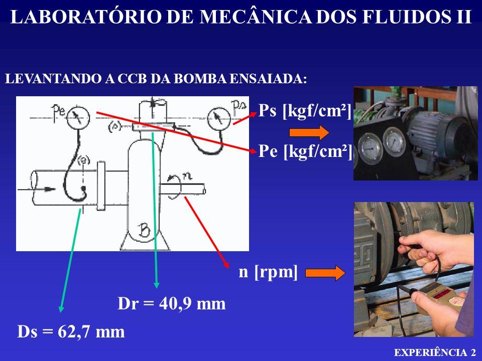 LABORATÓRIO DE MECÂNICA DOS FLUIDOS II EXPERIÊNCIA 2 APLICANDO A EQUAÇÃO DA ENERGIA ENTRE A ENTRADA E A SAIDA: H E + H B = H S v E 2 + P E + Z E + H B = v S 2 + P S + Z S 2g 2g 0 H B = P S - P E + v S 2 - v E 2 + Z 2g Q = v x A v = 4 x Q x D 2