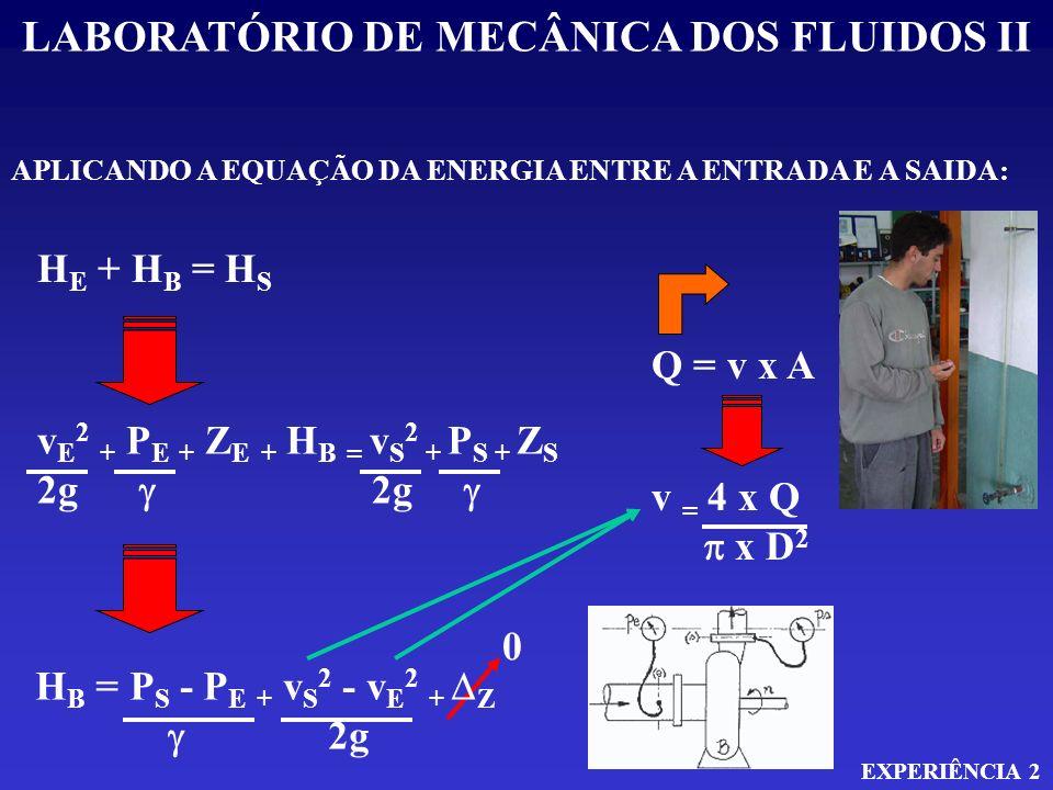 LABORATÓRIO DE MECÂNICA DOS FLUIDOS II EXPERIÊNCIA 2 APLICANDO A EQUAÇÃO DA ENERGIA ENTRE A ENTRADA E A SAIDA: H E + H B = H S v E 2 + P E + Z E + H B
