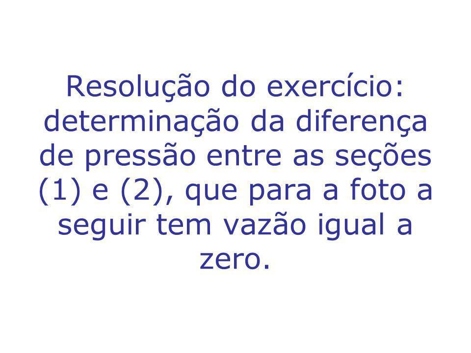 Resolução do exercício: determinação da diferença de pressão entre as seções (1) e (2), que para a foto a seguir tem vazão igual a zero.