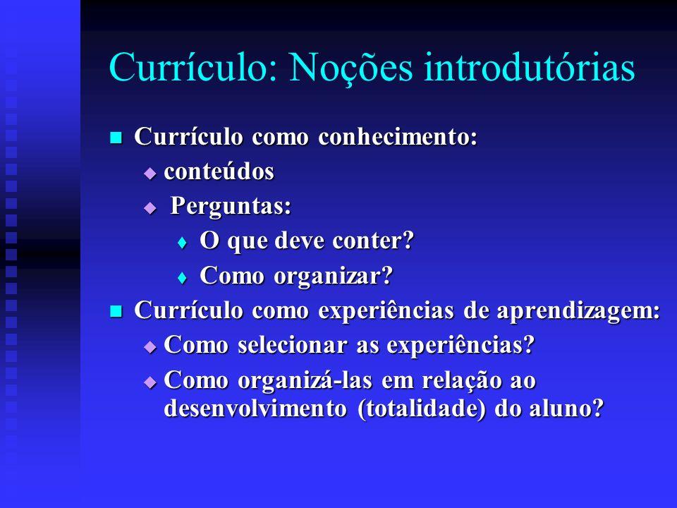 Currículo: Noções introdutórias Currículo como conhecimento: Currículo como conhecimento: conteúdos conteúdos Perguntas: Perguntas: O que deve conter?