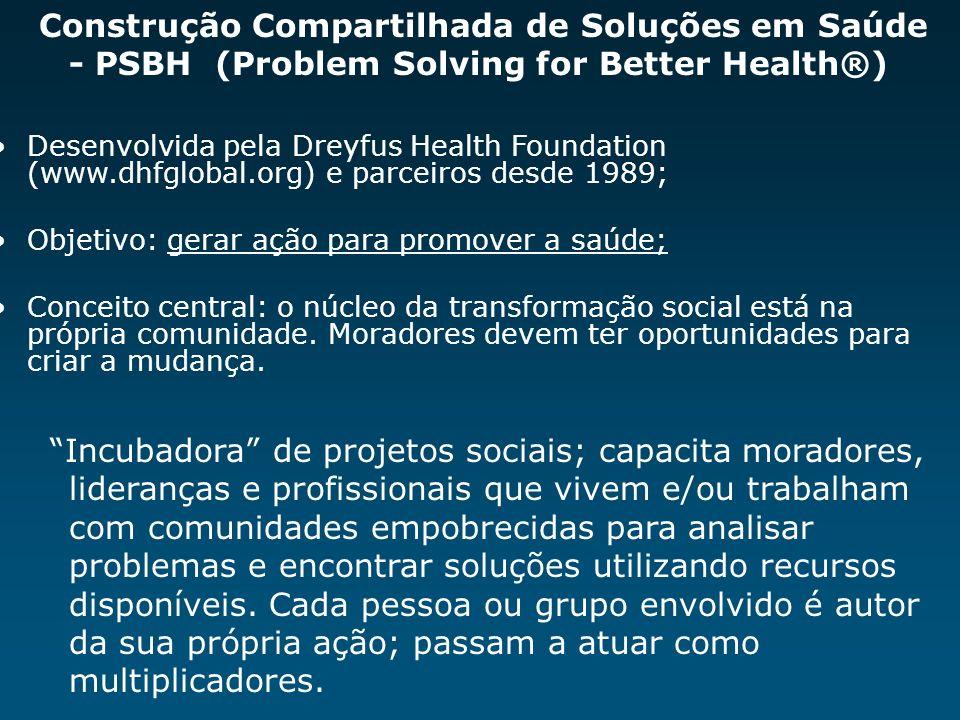 Construção Compartilhada de Soluções em Saúde - PSBH (Problem Solving for Better Health®) Desenvolvida pela Dreyfus Health Foundation (www.dhfglobal.o