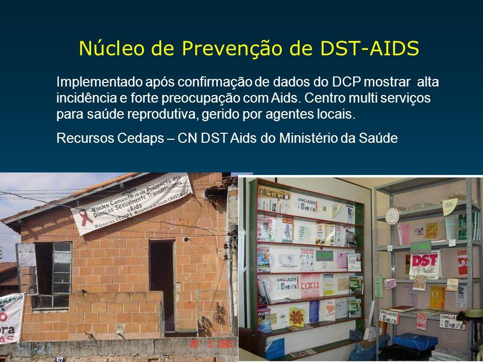Núcleo de Prevenção de DST-AIDS Implementado após confirmação de dados do DCP mostrar alta incidência e forte preocupação com Aids. Centro multi servi