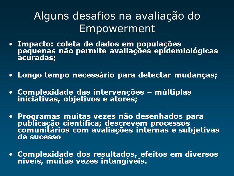 Alguns desafios na avaliação do Empowerment Impacto: coleta de dados em populações pequenas não permite avaliações epidemiológicas acuradas; Longo tem