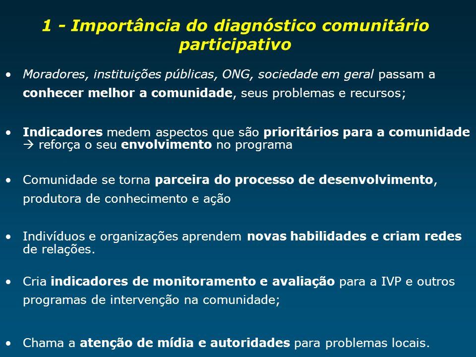 1 - Importância do diagnóstico comunitário participativo Moradores, instituições públicas, ONG, sociedade em geral passam a conhecer melhor a comunida
