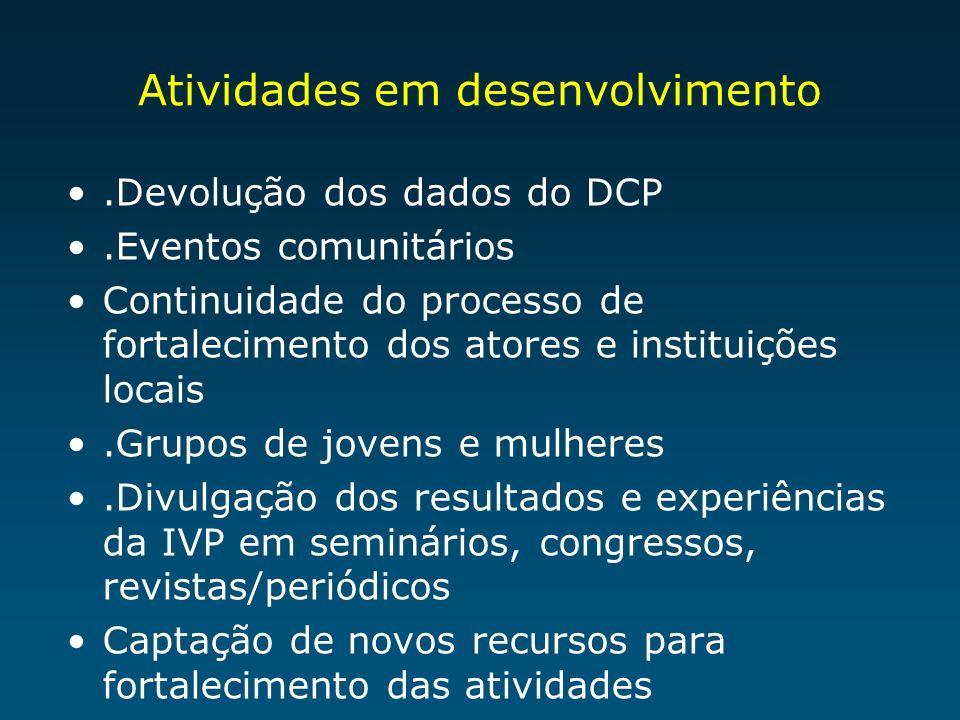 Atividades em desenvolvimento.Devolução dos dados do DCP.Eventos comunitários Continuidade do processo de fortalecimento dos atores e instituições loc