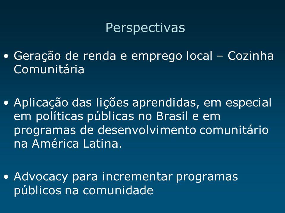 Perspectivas Geração de renda e emprego local – Cozinha Comunitária Aplicação das lições aprendidas, em especial em políticas públicas no Brasil e em