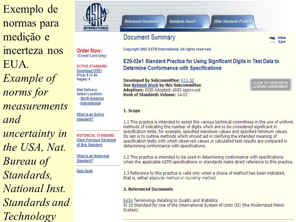 Exemplo de normas para medição e incerteza nos EUA. Example of norms for measurements and uncertainty in the USA, Nat. Bureau of Standards, National I
