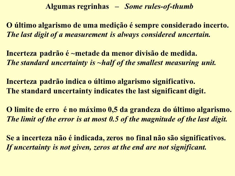Algumas regrinhas – Some rules-of-thumb O último algarismo de uma medição é sempre considerado incerto. The last digit of a measurement is always cons