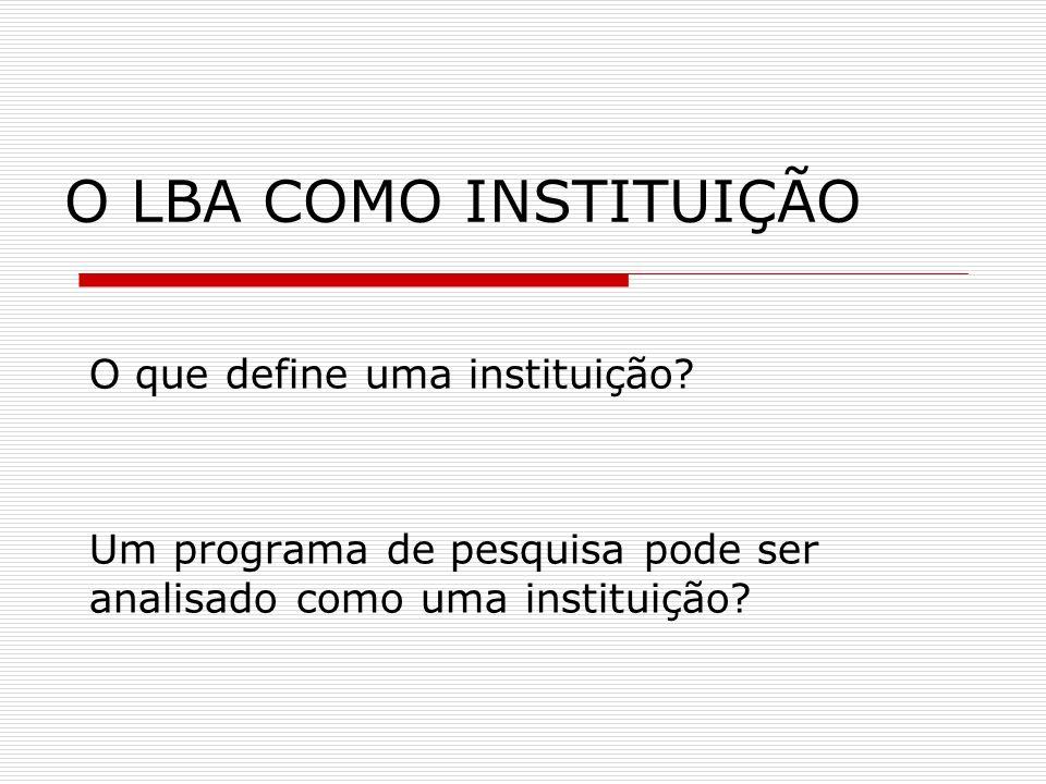 O LBA COMO INSTITUIÇÃO O que define uma instituição? Um programa de pesquisa pode ser analisado como uma instituição?