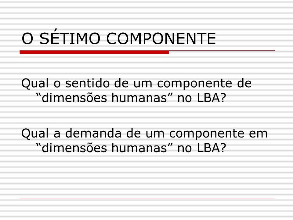 O SÉTIMO COMPONENTE Qual o sentido de um componente de dimensões humanas no LBA? Qual a demanda de um componente em dimensões humanas no LBA?