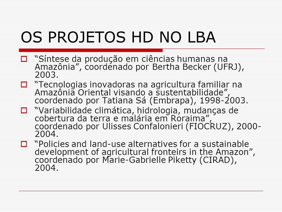 OS PROJETOS HD NO LBA Síntese da produção em ciências humanas na Amazônia, coordenado por Bertha Becker (UFRJ), 2003. Tecnologias inovadoras na agricu