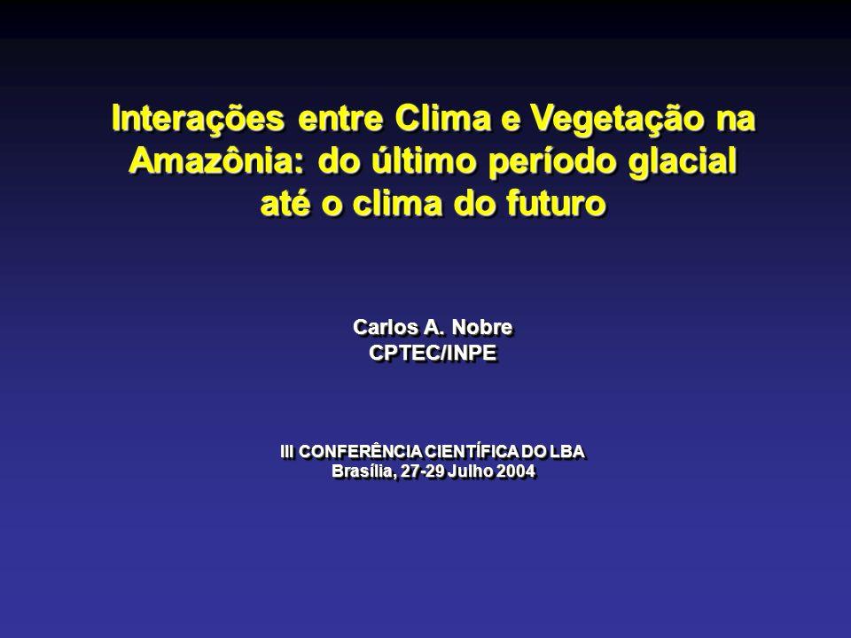Interações entre Clima e Vegetação na Amazônia: do último período glacial até o clima do futuro Carlos A. Nobre CPTEC/INPE III CONFERÊNCIA CIENTÍFICA