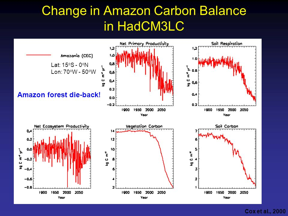 Change in Amazon Carbon Balance in HadCM3LC Lat: 15 o S - 0 o N Lon: 70 o W - 50 o W Amazon forest die-back! Cox et al., 2000