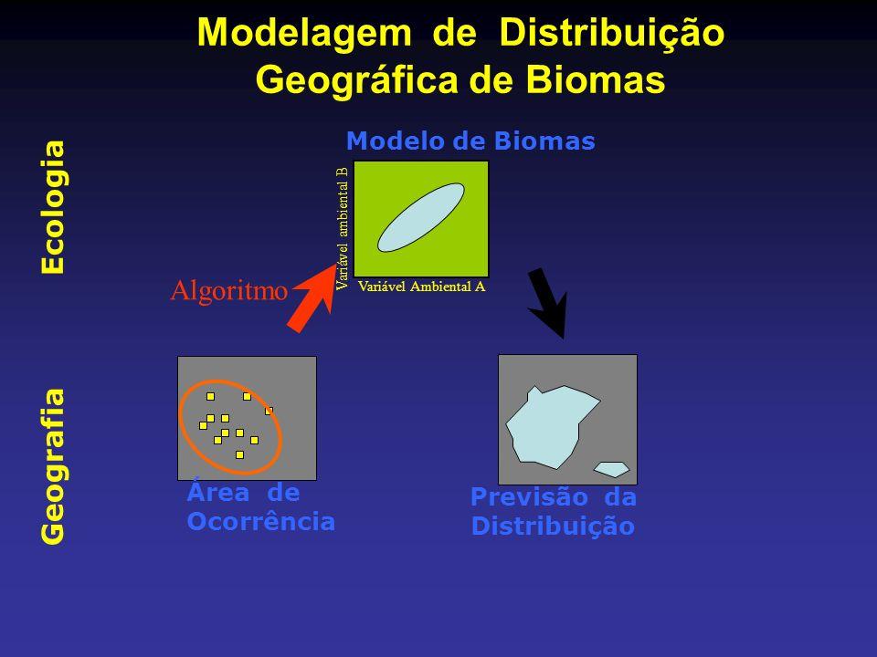Geografia Ecologia Modelagem de Distribuição Geográfica de Biomas Área de Ocorrência Algoritmo Variável Ambiental A Variável ambiental B Modelo de Bio