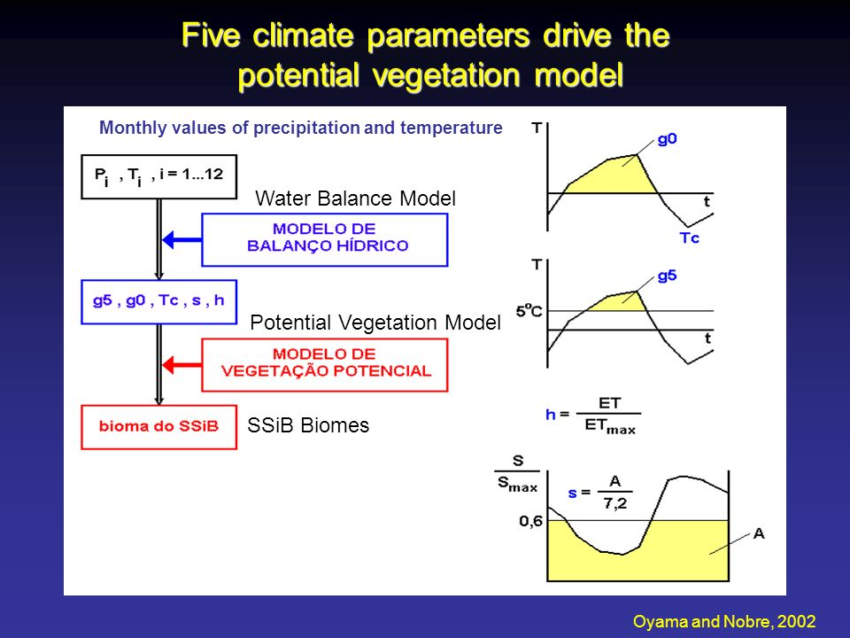 Five climate parameters drive the potential vegetation model Oyama and Nobre, 2002 Monthly values of precipitation and temperature Water Balance Model