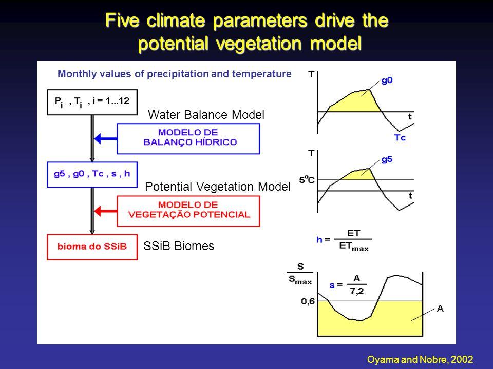 Visual Comparison of CPTEC-PBM versus Natural Vegetation Map CPTEC-PBM SiB Biome Classification Oyama and Nobre, 2002 62% agreement on a global 2 deg x 2 deg grid