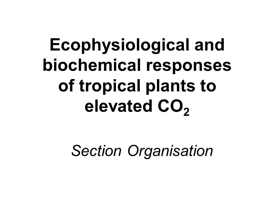 Section Organisation Ecophysiological and biochemical responses of tropical plants to elevated CO 2