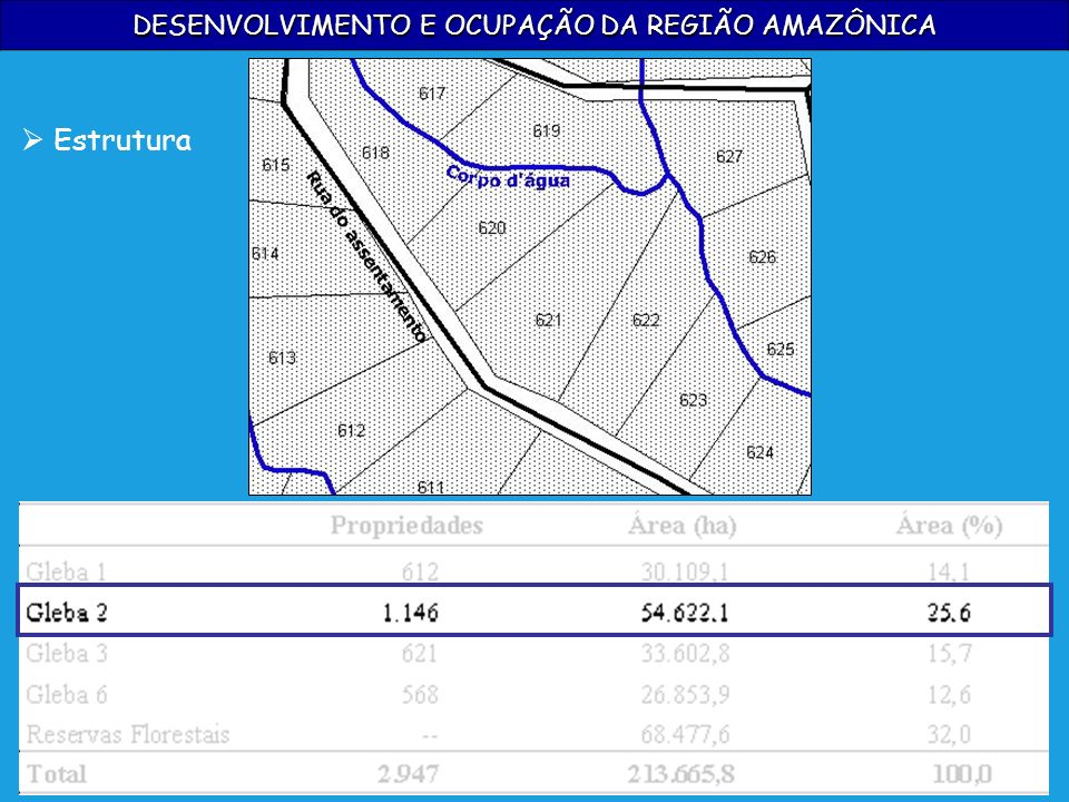 DESENVOLVIMENTO E OCUPAÇÃO DA REGIÃO AMAZÔNICA Estrutura