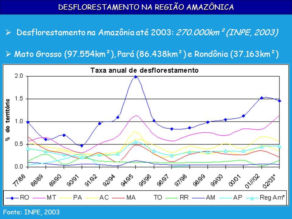 DESFLORESTAMENTO NA REGIÃO AMAZÔNICA Fonte: INPE, 2003 Desflorestamento na Amazônia até 2003: 270.000km² (INPE, 2003) Mato Grosso (97.554km²), Pará (8