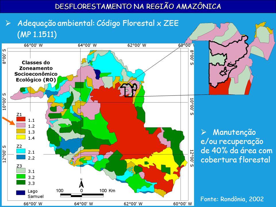 DESFLORESTAMENTO NA REGIÃO AMAZÔNICA Fonte: Rondônia, 2002 Manutenção e/ou recuperação de 40% da área com cobertura florestal Adequação ambiental: Cód