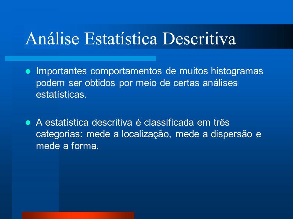 Análise Estatística Descritiva Importantes comportamentos de muitos histogramas podem ser obtidos por meio de certas análises estatísticas. A estatíst