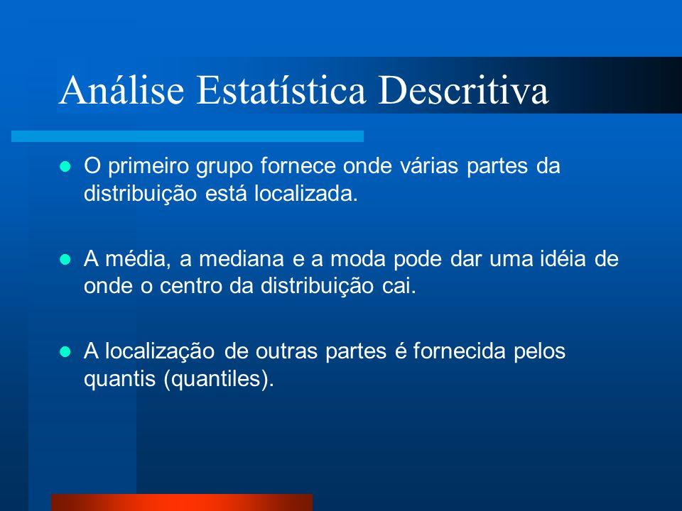 Análise Estatística Descritiva O primeiro grupo fornece onde várias partes da distribuição está localizada. A média, a mediana e a moda pode dar uma i