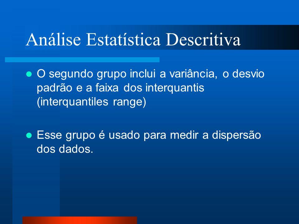 Análise Estatística Descritiva O segundo grupo inclui a variância, o desvio padrão e a faixa dos interquantis (interquantiles range) Esse grupo é usad