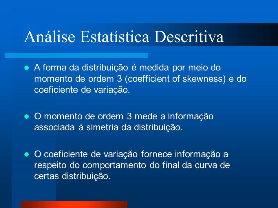 Análise Estatística Descritiva A forma da distribuição é medida por meio do momento de ordem 3 (coefficient of skewness) e do coeficiente de variação.