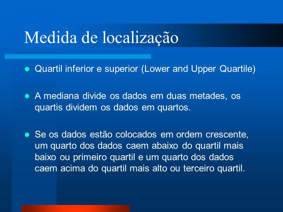 Medida de localização Quartil inferior e superior (Lower and Upper Quartile) A mediana divide os dados em duas metades, os quartis dividem os dados em