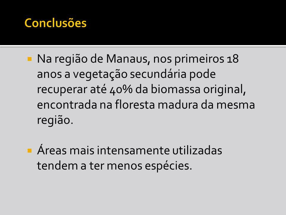 Na região de Manaus, nos primeiros 18 anos a vegetação secundária pode recuperar até 40% da biomassa original, encontrada na floresta madura da mesma região.