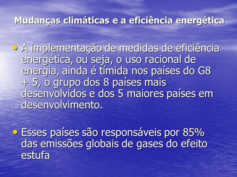 Mudanças climáticas e a eficiência energética A implementação de medidas de eficiência energética, ou seja, o uso racional de energia, ainda é tímida