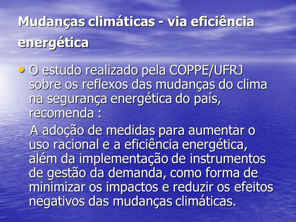 Mudanças climáticas - via eficiência energética O estudo realizado pela COPPE/UFRJ sobre os reflexos das mudanças do clima na segurança energética do