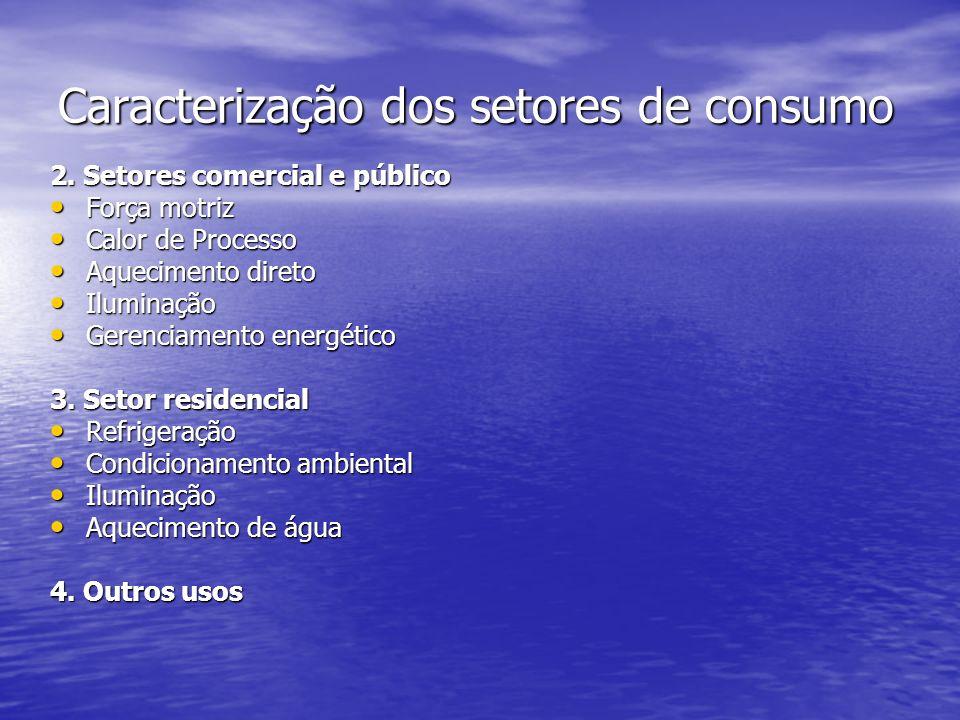 Caracterização dos setores de consumo 2. Setores comercial e público Força motriz Força motriz Calor de Processo Calor de Processo Aquecimento direto