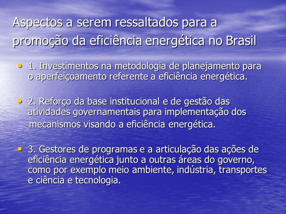 Aspectos a serem ressaltados para a promoção da eficiência energética no Brasil 1. Investimentos na metodologia de planejamento para o aperfeiçoamento