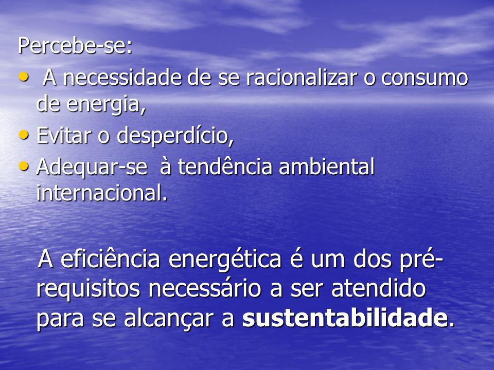 EFICIÊNCIA ENERGÉTICA A eficiência no uso da energia, em especial a elétrica, está na pauta no mundo desde os choques do petróleo na década de 70.