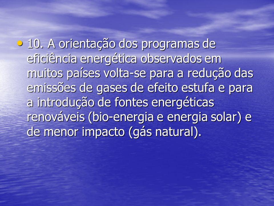 10. A orientação dos programas de eficiência energética observados em muitos países volta-se para a redução das emissões de gases de efeito estufa e p