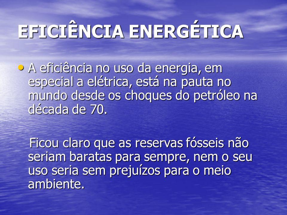 EFICIÊNCIA ENERGÉTICA A eficiência no uso da energia, em especial a elétrica, está na pauta no mundo desde os choques do petróleo na década de 70. A e