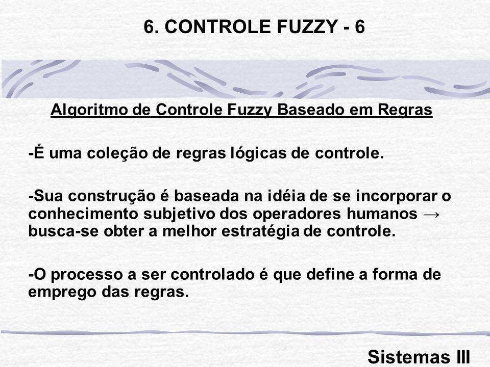 Algoritmo de Controle Fuzzy Baseado em Regras -É uma coleção de regras lógicas de controle. -Sua construção é baseada na idéia de se incorporar o conh
